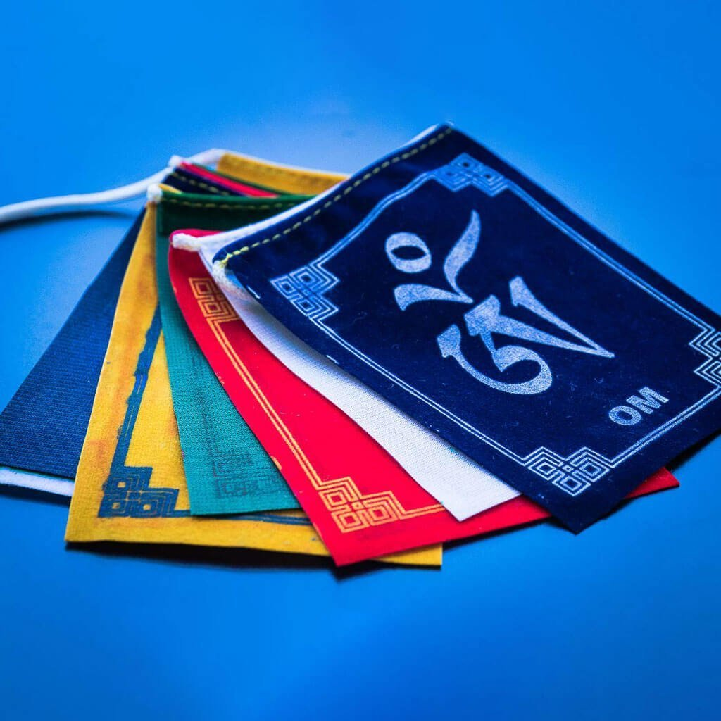 Om Mane Velvet Prayer Flags - Authentic Tibetan Prayer Flags - buddhist tibetan prayer flag -prayer flag - cheap prayer flag -authentic prayer flag - buddhist prayer flag - om mani padme hum mantra painted prayer flag - tibetan prayer flag - traditional flag - prayer flag picture - buddhist flag
