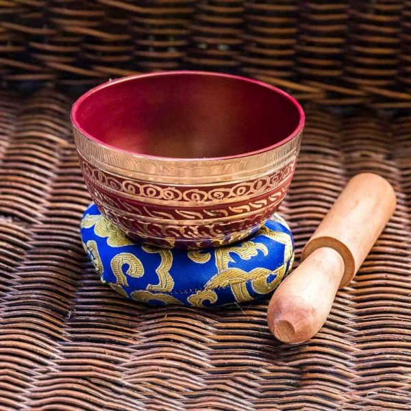 Root Chakra Painted Singing Bowl - singing bowl - standing bell - buddhist bell - buddhist bowl - buddhist singing bowl - chinese singing bowl - nepali singing bowl - handmade singing bowl