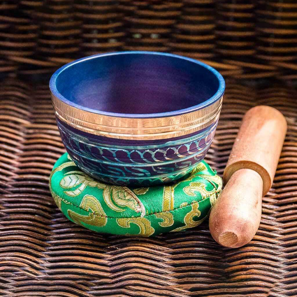 Third Eye Chakra Painted Singing Bowl - singing bowl - standing bell - buddhist bell - buddhist bowl - buddhist singing bowl - chinese singing bowl - nepali singing bowl - handmade singing bowl