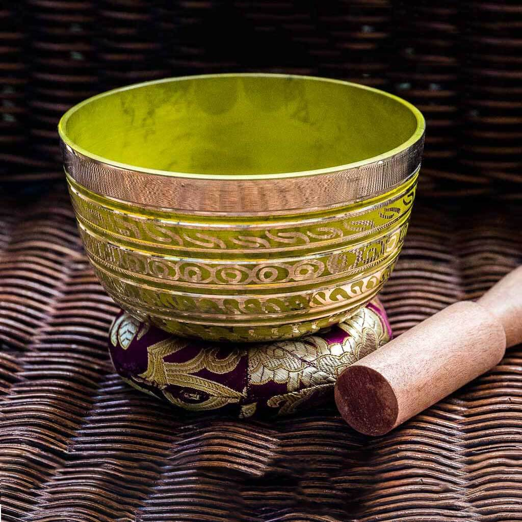 Solar Plexus Chakra Painted Singing Bowl - singing bowl - standing bell - buddhist bell - buddhist bowl - buddhist singing bowl - chinese singing bowl - nepali singing bowl - handmade singing bowl