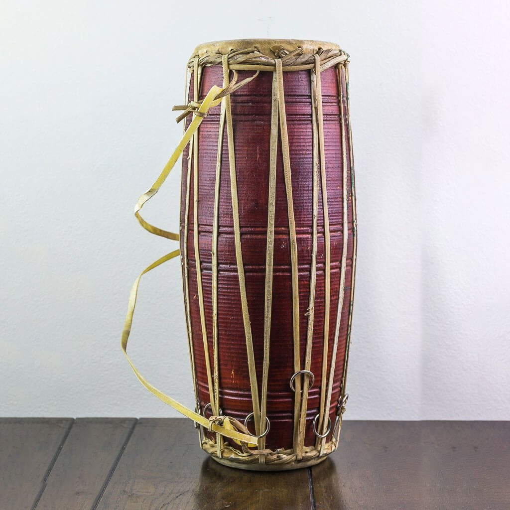17 inch Madal-Nepalese Drum Brown- nepalese drum - napali traditional musical instrument -musical instrument - maadal - madal - thamelshop - decor items - handmade musical instrument - folk musical instrument