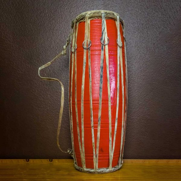 17 inch Madal-Nepalese Drum Red - nepalese drum - napali traditional musical instrument -musical instrument - maadal - madal - thamelshop - decor items - handmade musical instrument - folk musical instrument