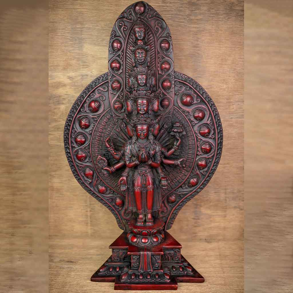 Thousand Arm Avalokiteshvara Statue -Thousand Arm Avalokiteshvara Statue - Lord Avalokiteshvara - avalokiteshvara - Thousand arm avalokiteshvara- buddhist god - chinese god - thousand arm god - thamelshop - thamel shop - buddhist item - buddhist item