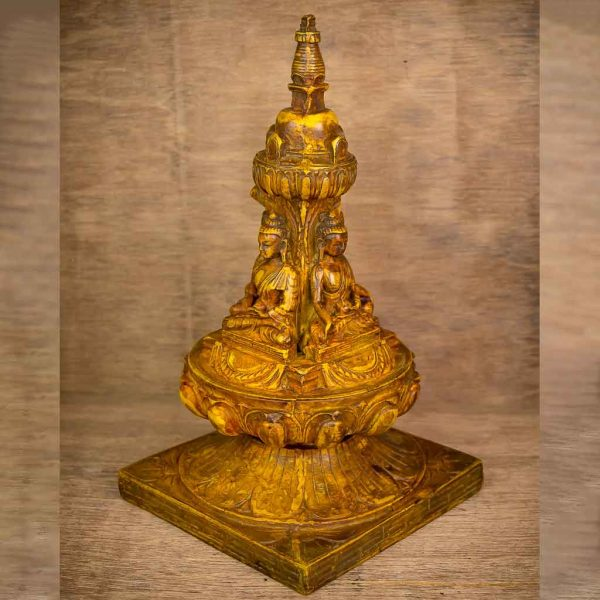 Four Faced Buddha Stupa - buddha with stupa statue - stupa and buddha statue - four faced buddha - four faced buddha statue - stupa - buddha - buddha statue - thamelshop - spritual items - buddhist item - antique buddha statue