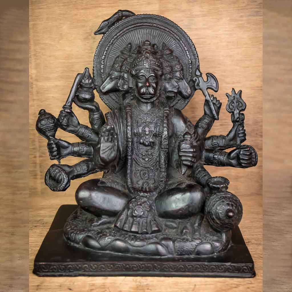 5 Faced Black Hanuman Statue