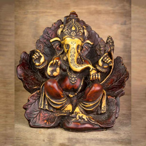 Antique Leaf Wing Ganesh Statue