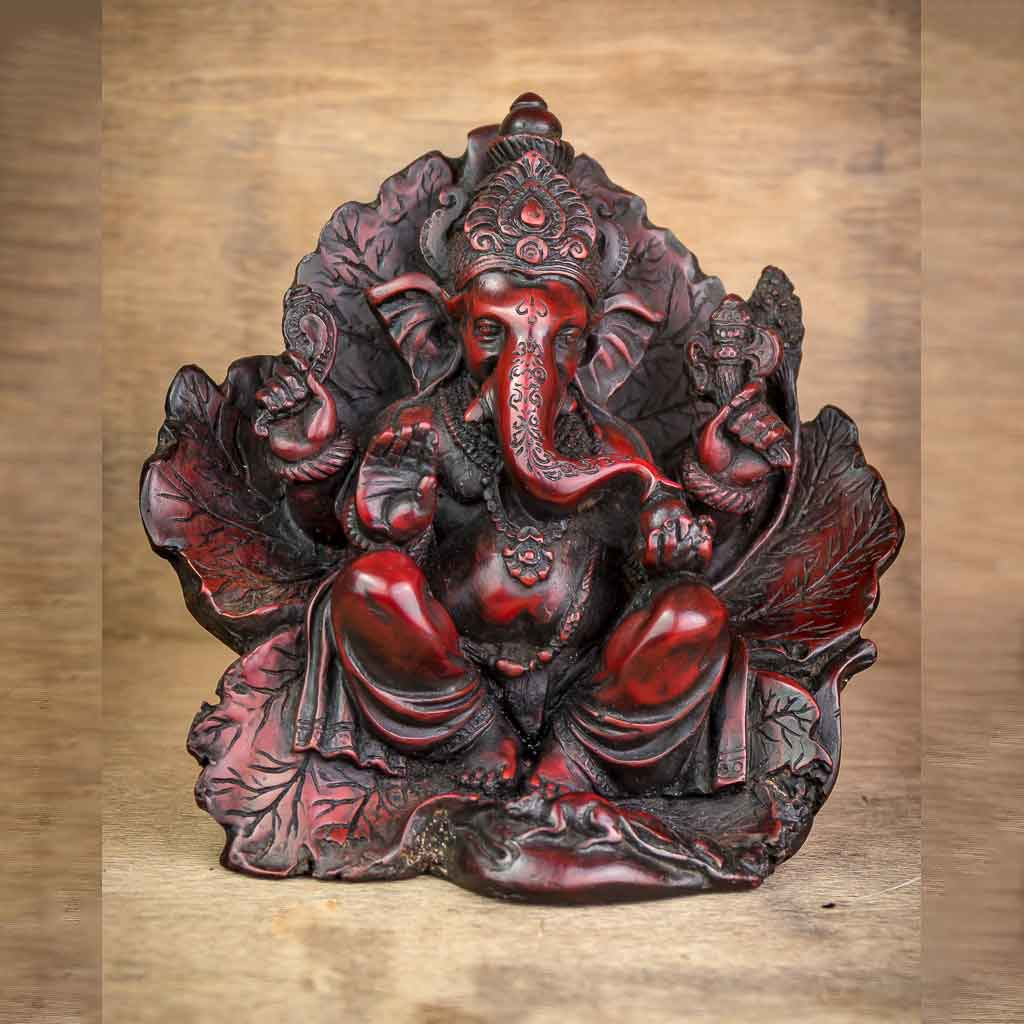 Leaf Wing Ganesh Statue Red