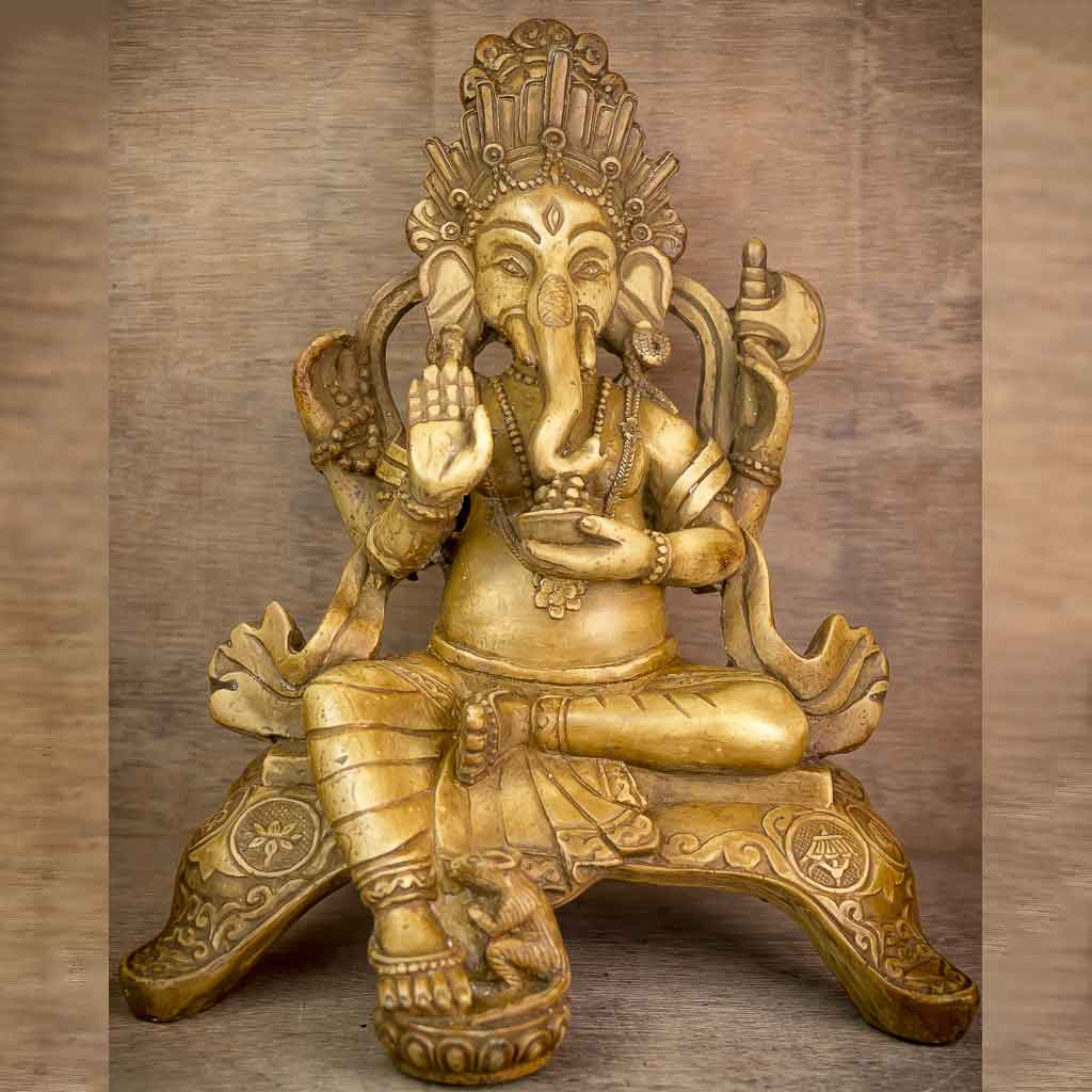 Ivory Aashirvaad Ganesh Statue - thamelshop - ganesh statue- antique ganesha statue - lord ganesh - best statue - spritual items