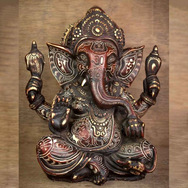 Natural Carving Crown Ganesh Statue - thamelshop - ganesh statue- antique ganesha statue - lord ganesh - best statue - spritual items
