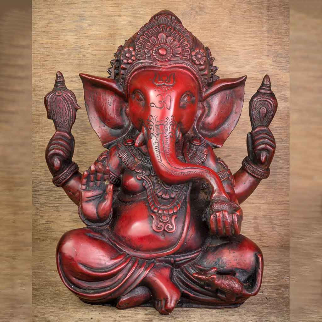 Crown Ganesh Statue Red - thamelshop - ganesh statue- antique ganesha statue - lord ganesh - best statue - spritual items