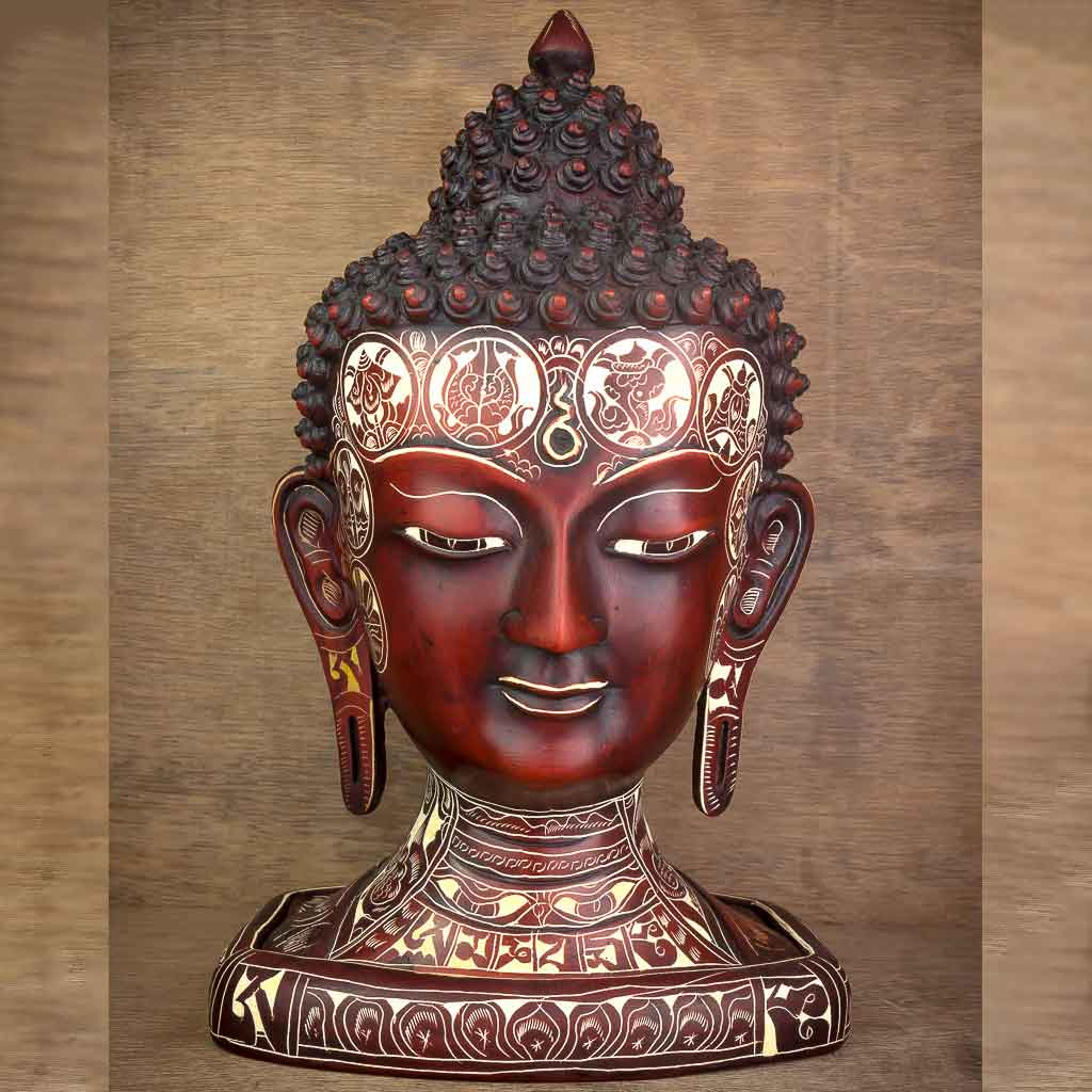Natural Carving Buddha Head - buddha with stupa statue - stupa and buddha statue - four faced buddha - four faced buddha statue - stupa - buddha - buddha statue - thamelshop - spritual items - buddhist item - antique buddha statue - carved buddha head - buddha head statue - natural carving buddha