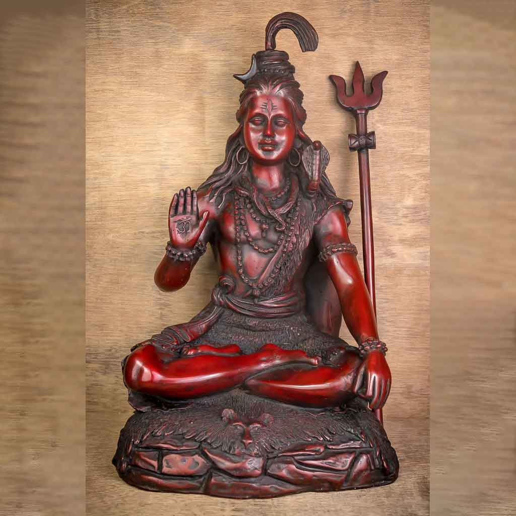 36 cm Lord Shiva Statue Red