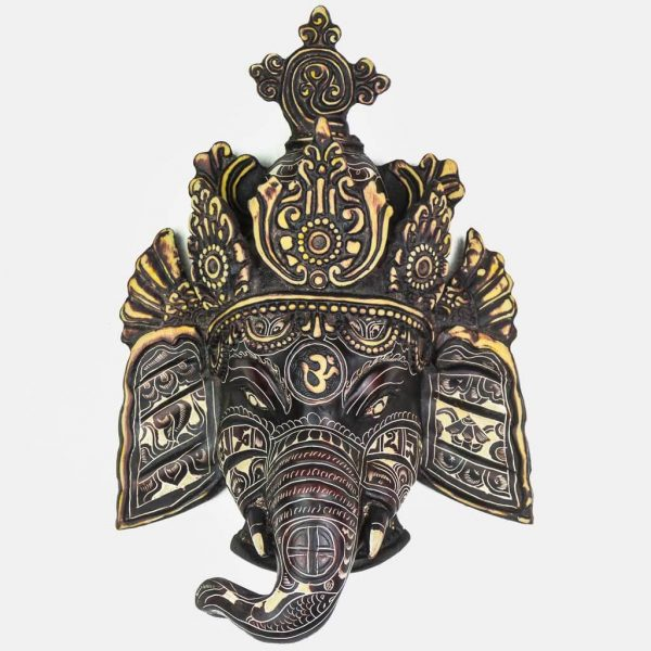 Trunk Ganesh Wall Hanging- Trunk Ganesh Wall Hanging- ganesha wall hanging-ganesh statue black - antique ganesha statueBlack carving - ganesh wall hanging black -antique ganesh wall hanging - decor items- spritual item-black ganesh statues