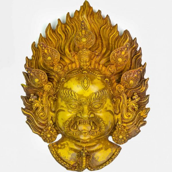 Bhairav Wall Hanging Yellow- thamelshop - spritual items - wall hanging - decor items - wall decor items - shiva wall hanging - god shiva wall hanging - natural carving wall hanging - natural carving Shiva statue - natural carving wall hanging - lord Shiva decor items - Bhairav wall hanging - bhairav statue- kaal bhairav statue - kaal bhairav wall hanging - vairav - bhairav- yellow bhairav