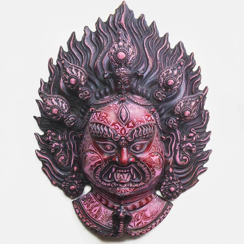 Bhairav Wall Hanging Red Natural Carving - thamelshop - spritual items - wall hanging - decor items - wall decor items - shiva wall hanging - god shiva wall hanging - natural carving wall hanging - natural carving Shiva statue - natural carving wall hanging - lord Shiva decor items - Bhairav wall hanging - bhairav statue- kaal bhairav statue - kaal bhairav wall hanging - vairav - bhairav
