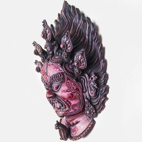 Bhairav Wall Hanging Red Natural Carving