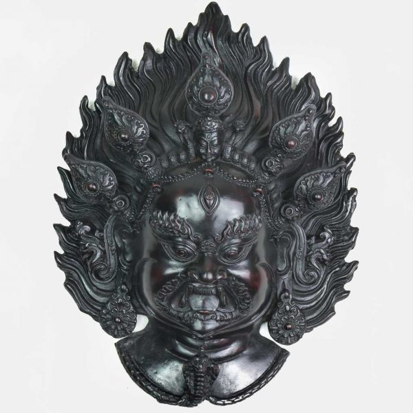 Bhairav Wall Hanging Black- thamelshop - spritual items - wall hanging - decor items - wall decor items - shiva wall hanging - god shiva wall hanging - natural carving wall hanging - natural carving Shiva statue - natural carving wall hanging - lord Shiva decor items - Bhairav wall hanging - bhairav statue- kaal bhairav statue - kaal bhairav wall hanging - vairav - black bhairav