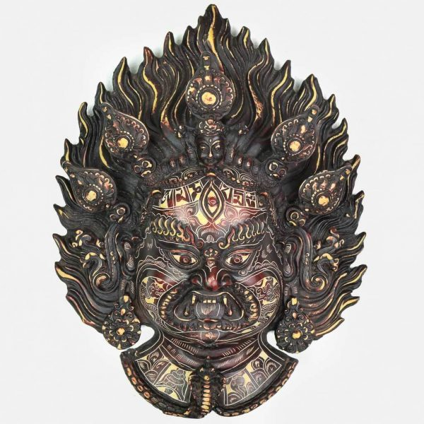 Bhairav Wall Hanging Natural Carving - thamelshop - spritual items - wall hanging - decor items - wall decor items - shiva wall hanging - god shiva wall hanging - natural carving wall hanging - natural carving Shiva statue - natural carving wall hanging - lord Shiva decor items - Bhairav wall hanging - bhairav statue- kaal bhairav statue - kaal bhairav wall hanging - vairav - bhairav