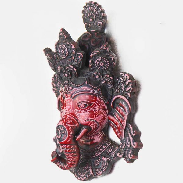 Small Ganesh Wall Hanging Natural Carving
