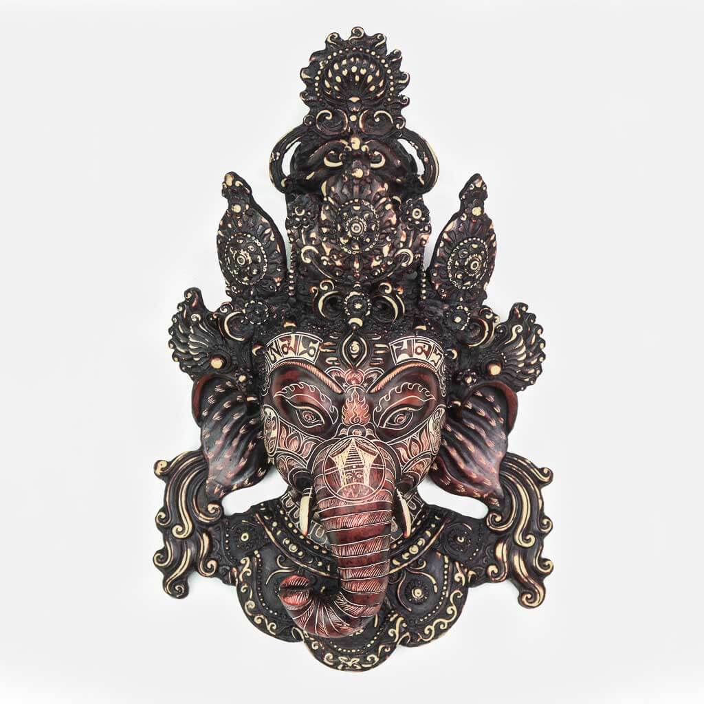 40 cm Ganesh Wall Hanging Natural Carving