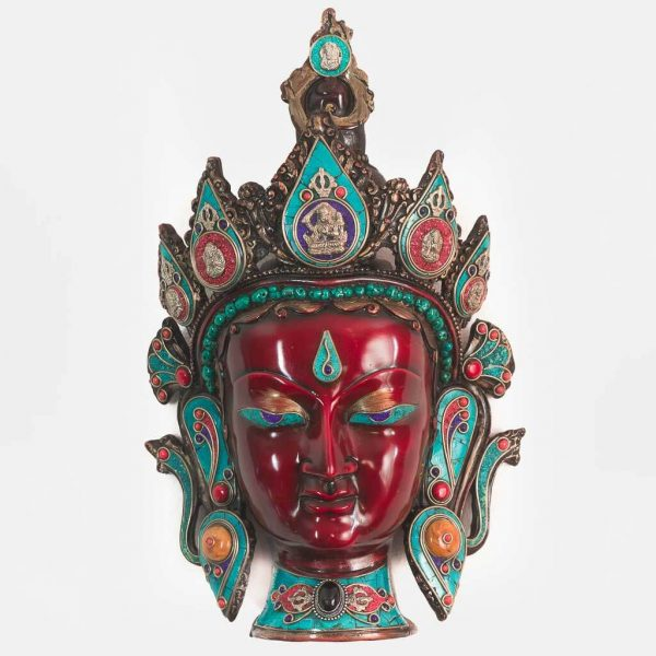 Turquoise and Coral Indra Wall Hanging - thamelshop - spritual items - wall decor items - wall hanging - decor items - wall decor items - turquoise wall hanging - lord indra wall hanging - turquoise wall hanging- Turquoise Indra statue - natural carving wall hanging - king of heaven statue- swarga ko raja