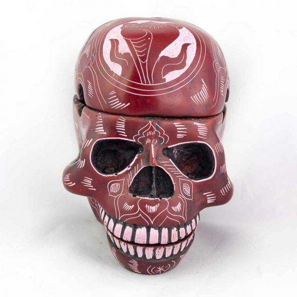 3 Piece Trinket Box Ashtray Red Carvings- -skull ashtray- skull ash tray-ash tray- ashtray - cool ashtray- designer ashtray- red ashtray,carving ashtray, handmade ashtray