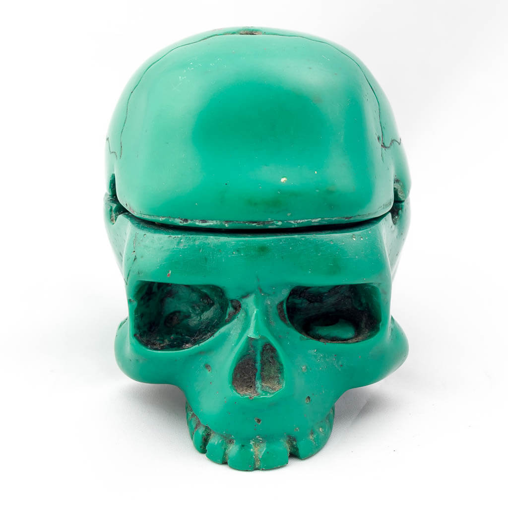 2 Piece Trinket Box Ashtray Green- green ashtray -cool ashtray- cool skull ashtray- cigar ashtray