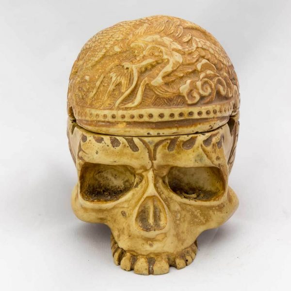 2 Piece Trinket Box Ashtray Ivory -skull ashtray -ash tray -cool skull ashtray - cool ashtrayCarvings