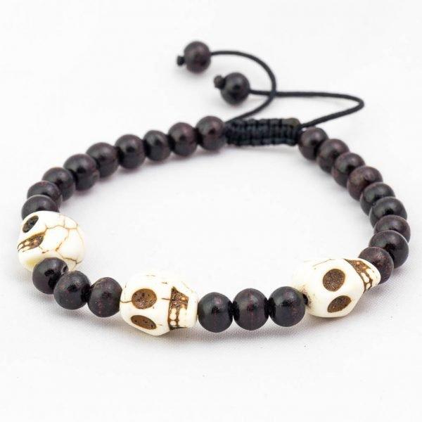 White Skull Beads Wrist Mala