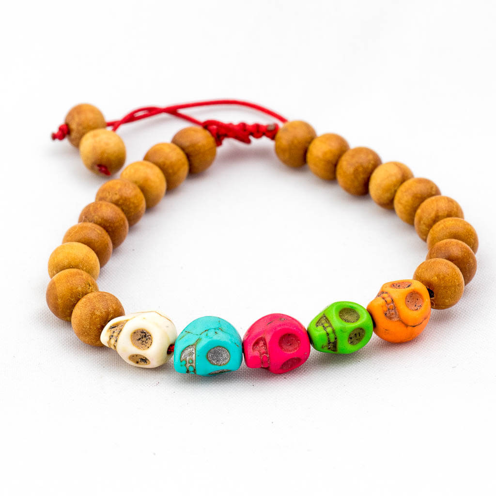 Multi Color Skull Wooden Wrist Mala