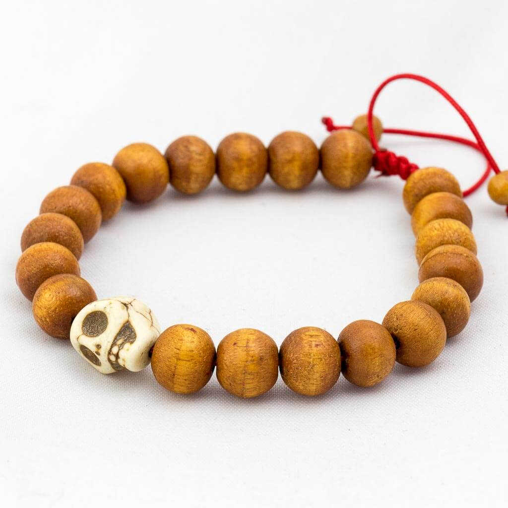 Single Skull Wooden Wrist Mala-thamelshop-mens beaded jewelry-tibetan mala shop-tibetan mala bracelets-how to make a wrist mala-wrist beads for guys-wrist mala-bodhi seed wrist mala-impermanence mala-dragons blood mala-japanese wrist mala-mens sandalwood bracelet-adjustable mala beads - hand jewellry- wrist jewellry