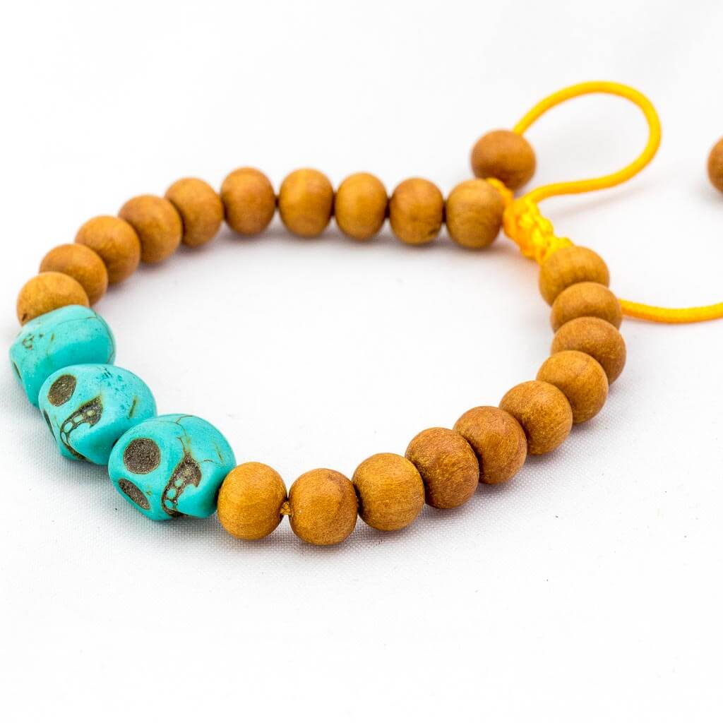 Turquoise Skull Wooden Wrist Mala-thamelshop-mens beaded jewelry-tibetan mala shop-tibetan mala bracelets-how to make a wrist mala-wrist beads for guys-wrist mala-bodhi seed wrist mala-impermanence mala-dragons blood mala-japanese wrist mala-mens sandalwood bracelet-adjustable mala beads - hand jewellry- wrist jewellry