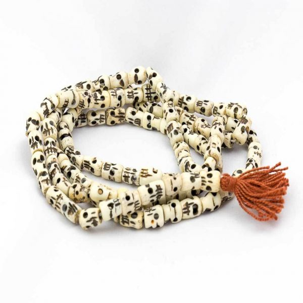 Flat Skull Long Wrist Mala-thamelshop-mens beaded jewelry-tibetan mala shop-tibetan mala bracelets-how to make a wrist mala-wrist beads for guys-wrist mala-bodhi seed wrist mala-impermanence mala-dragons blood mala-japanese wrist mala-mens sandalwood bracelet-adjustable mala beads - hand jewellry- wrist jewellry