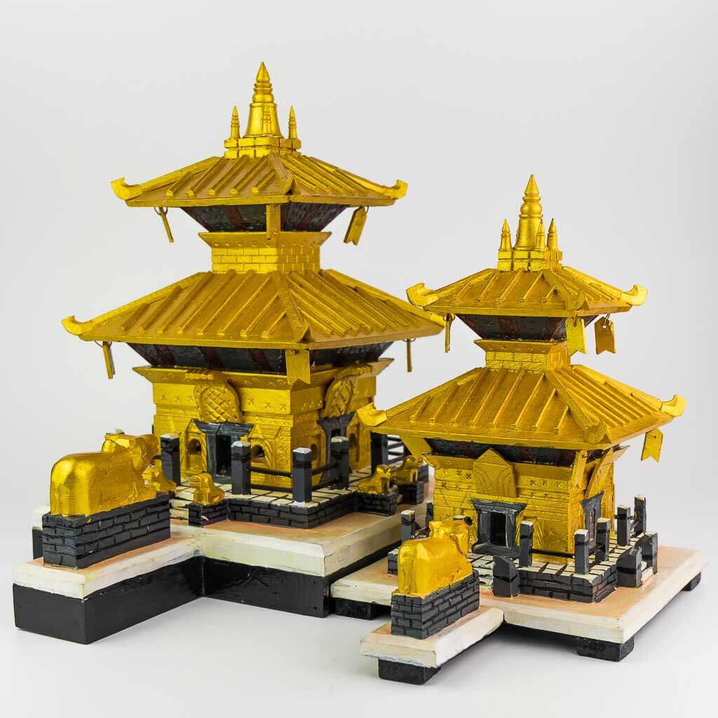 Gold Color Painted Pashupatinath Temple - thamelshop- decor items -wooden decor items-wooden crafts- handicrafts- handicrafts australia - pashupatinath - pashupati - pashupatinath temple - wooden pashupatinath temple - decorative pashupatinath temple -gold plated pashupatinath temple