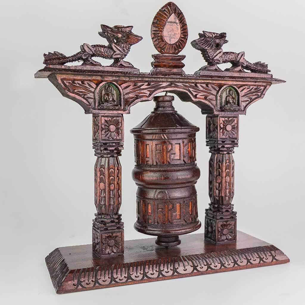 Large Wooden Mane Prayer Wheel