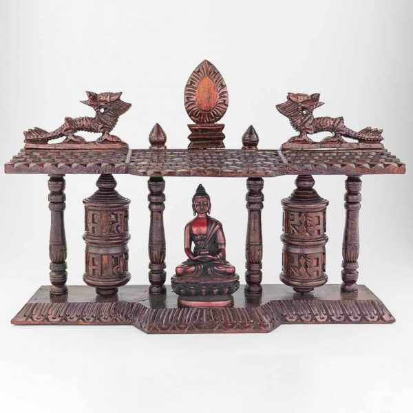 Double Mane Prayer Wheel with Buddha Statue
