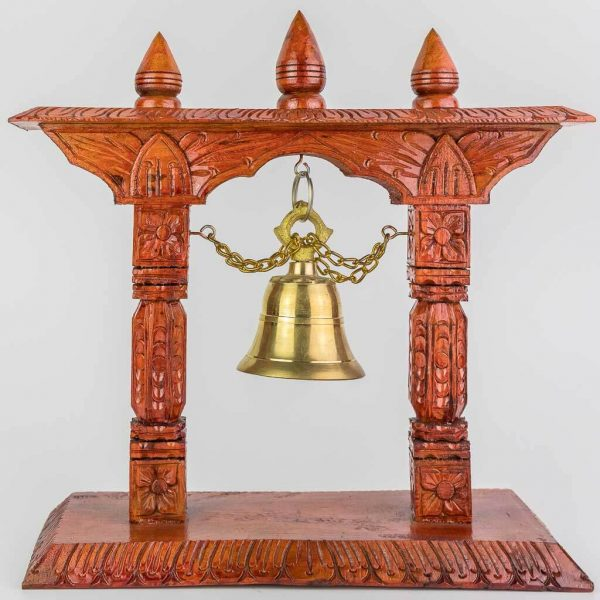 32 cm Wooden Bell Tower -thamelshop- decor items- wooden decor items-wooden crafts- handicrafts- handicrafts australia-wooden bell- decorative bell