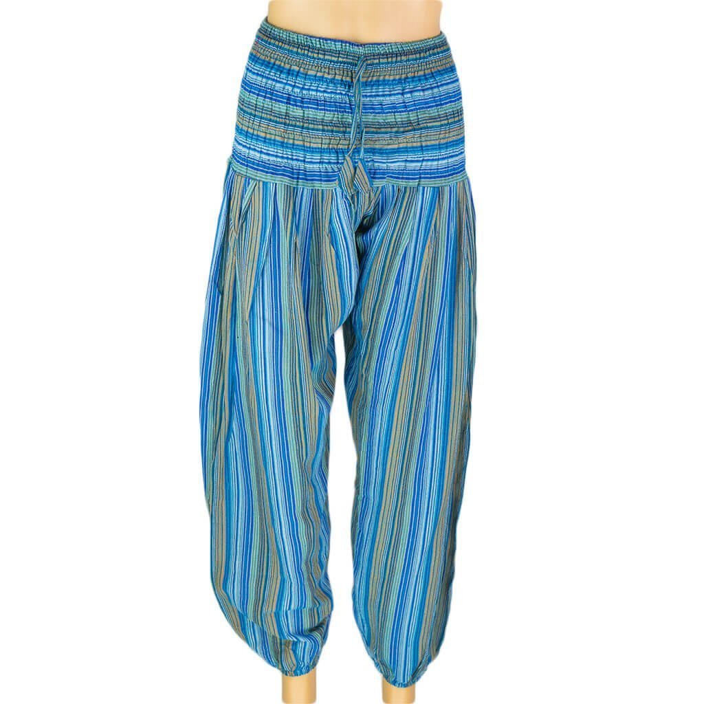 Turquoise-Harem-Stripe-Pant-women-Thamel-Shop-Hippie-Worldwide-Shipping-Nepal-Clothing