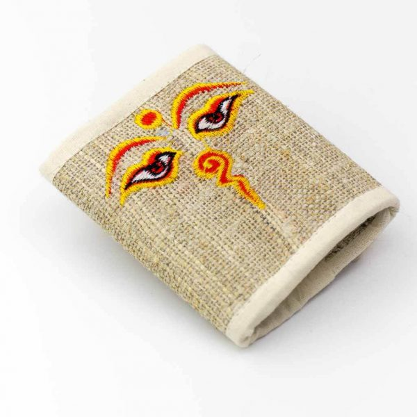 Buddha Eyes Embroidered Hemp Wallet -Thamelshop - hemp wallet -eternal knot embroidery wallet - cotten wallet- eco-friendly wallet -organic wallet-unique wallet-nepali wallet-handmade wallet - wallet- hemp wallet australia - hemp wallet with zipper