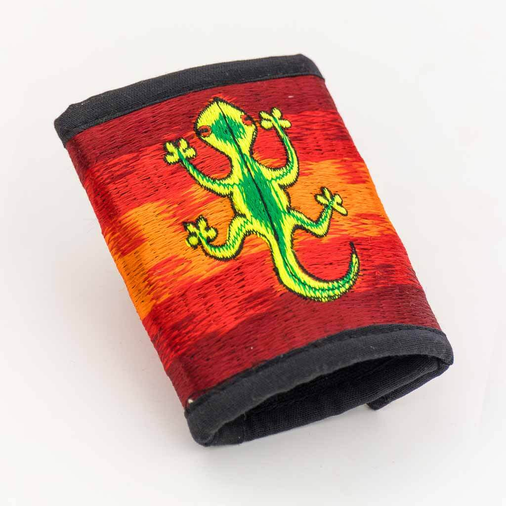 Cameleon Embroidered Cotton Wallet - Thamelshop - hemp wallet - spiral wallet -spiral embroidery wallet - cotten wallet- eco-friendly wallet -organic wallet-unique wallet-nepali wallet-handmade wallet - wallet- hemp wallet australia - hemp wallet with zipper -chameleon wallet -chameleon embroidery wallet-chameleon hemp wallet