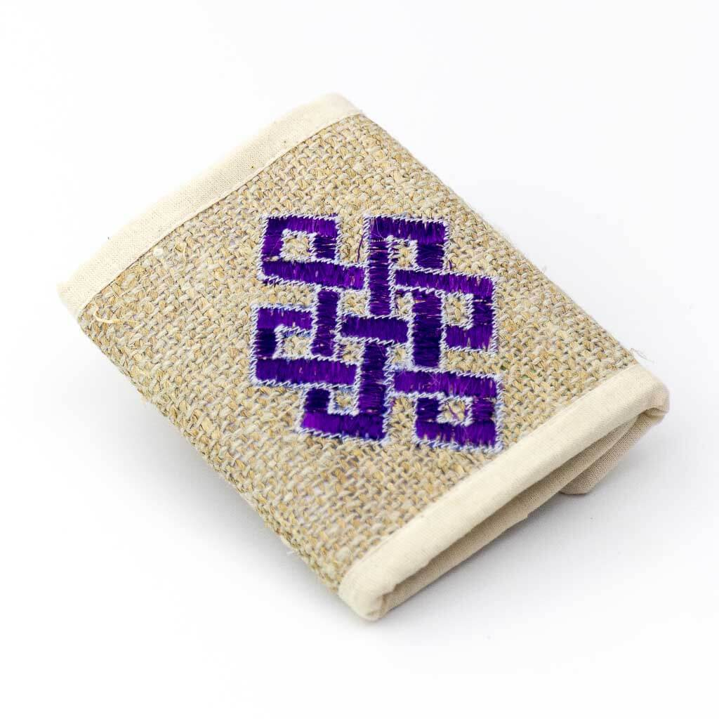 Eternal Knot Embroidered Hemp Wallet -Thamelshop - hemp wallet -eternal knot embroidery wallet - cotten wallet- eco-friendly wallet -organic wallet-unique wallet-nepali wallet-handmade wallllet - wallet- hemp wallet australia - hemp wallet with zipper
