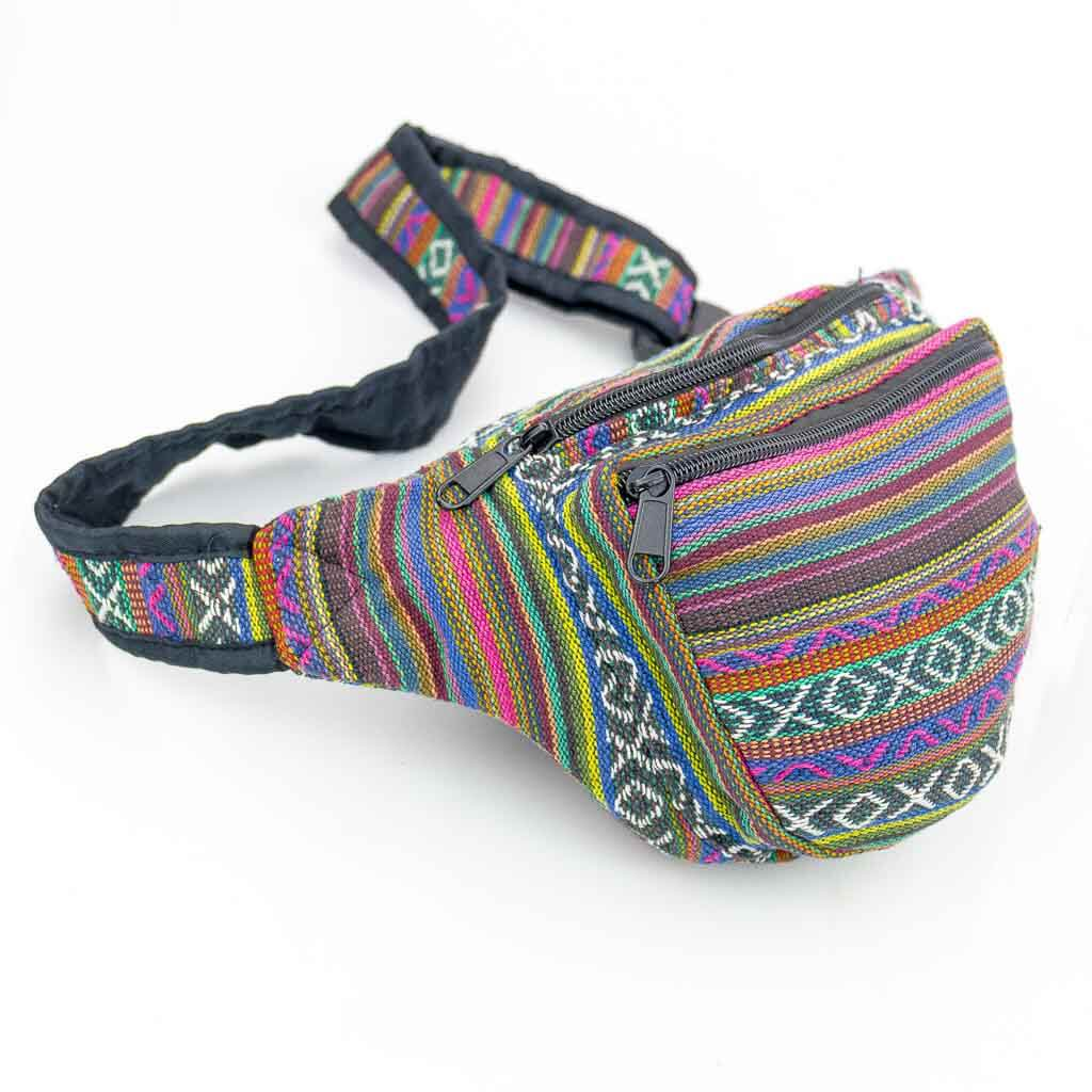 Ethnic Tribal Printed Bum Bags - Thamelshop - bum bags - hemp bum bags - cotten bum bag - eco-friendly bum bag - organic bum bag -unique bum bag -nepali bum bag -handmade bum bag -colourfull bum bag