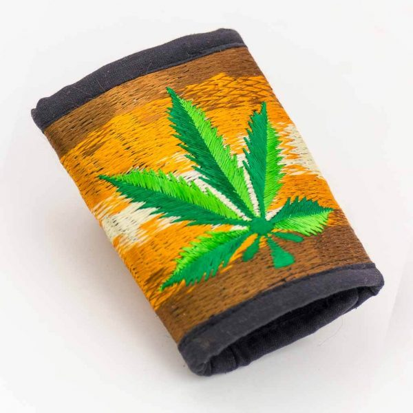 Marijuana Embroidered Cotton Wallet -Thamelshop - hemp wallet -marijuana embroidery wallet - cotten wallet- eco-friendly wallet -organic wallet-unique wallet-nepali wallet-handmade wallet - wallet- hemp wallet australia - hemp wallet with zipper- marijuana