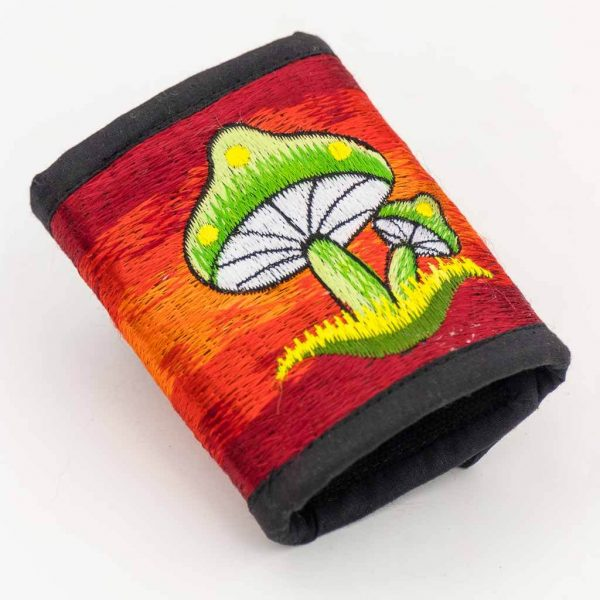 Mushroom Embroidered Cotton Wallet -Thamelshop - hemp wallet -mushroom symbol embroidery wallet - cotten wallet- eco-friendly wallet -organic wallet-unique wallet-nepali wallet-handmade wallet - wallet- hemp wallet australia - hemp wallet with zipper