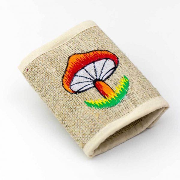 Mushroom Embroidered Hemp Wallet -Thamelshop - hemp wallet -mushroom symbol embroidery wallet - cotten wallet- eco-friendly wallet -organic wallet-unique wallet-nepali wallet-handmade wallet - wallet- hemp wallet australia - hemp wallet with zipper