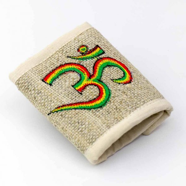 Om Mantra Embroidered Hemp Wallet -Thamelshop - hemp wallet - spiral wallet -spiral embroidery wallet - cotten wallet- eco-friendly wallet -organic wallet-unique wallet-nepali wallet-handmade wallet - wallet- hemp wallet australia - hemp wallet with zipper