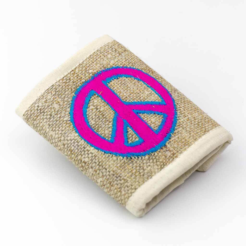 Peace Symbol Embroidered Hemp Wallet