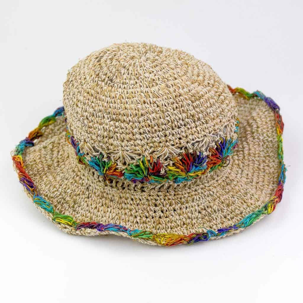 Hemp   Cotton Woven Hat – Rainbow Brim – Thamel Shop 9ccda60adff