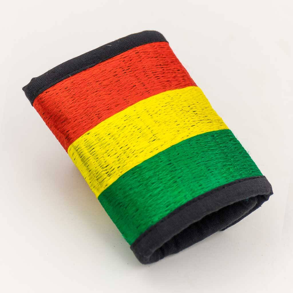 Rasta Embroidered Cotton Wallet - Thamelshop - hemp wallet - spiral wallet -spiral embroidery wallet - cotten wallet- eco-friendly wallet -organic wallet-unique wallet-nepali wallet-handmade wallet - wallet- hemp wallet australia - hemp wallet with zipper-rasta embroidery wallet-rasta cotton wallet- rasta hemp wallet