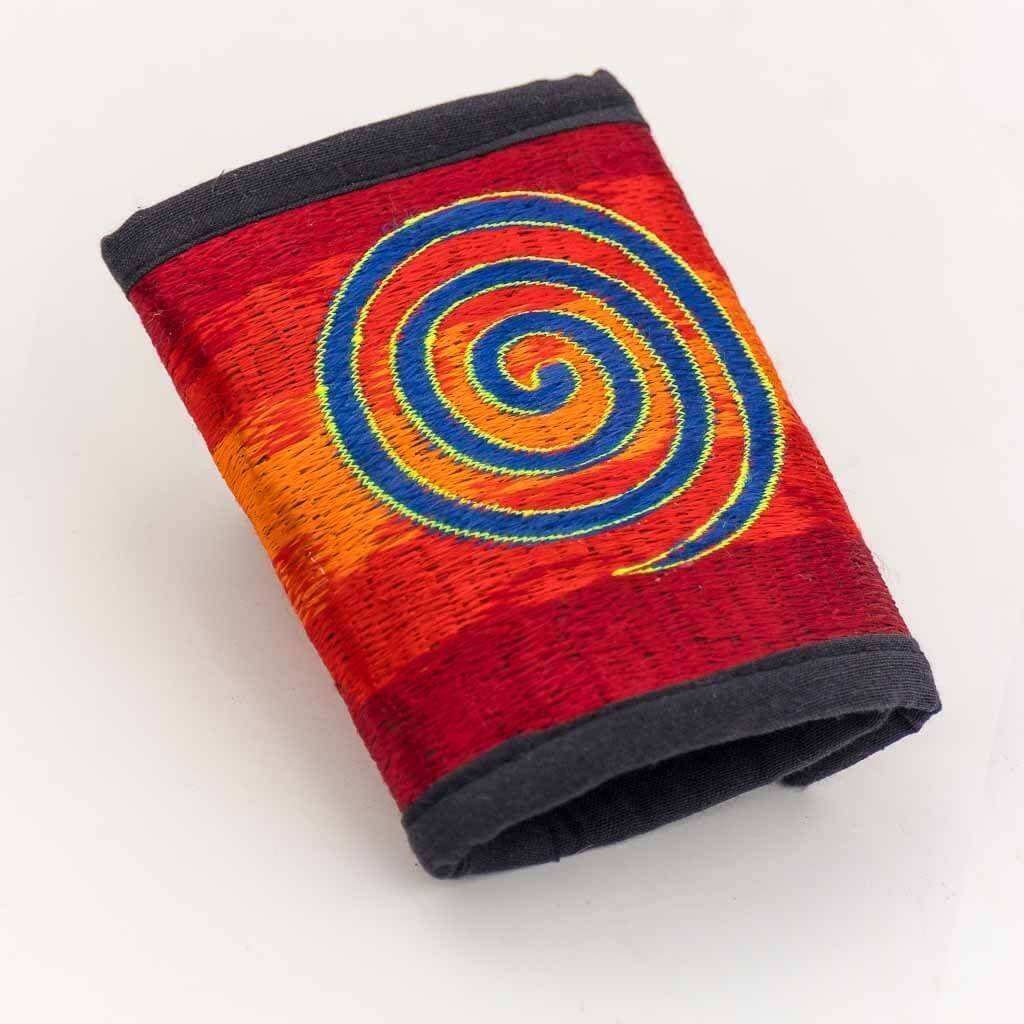 Spiral Embroidered Cotton Wallet